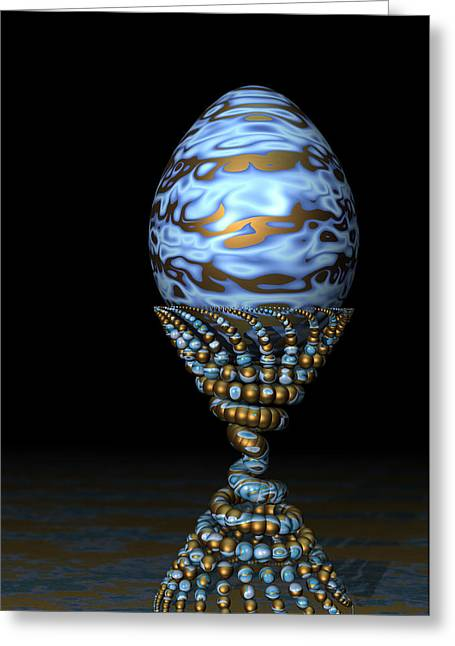 Golden Egg Greeting Cards - Blue and Golden Egg Greeting Card by Hakon Soreide