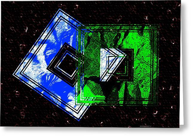Style Greeting Cards - Blue and green combination Greeting Card by Mario  Perez