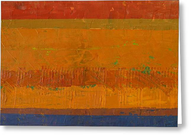 Olive Green Greeting Cards - Blue and Orange with Rust Greeting Card by Michelle Calkins