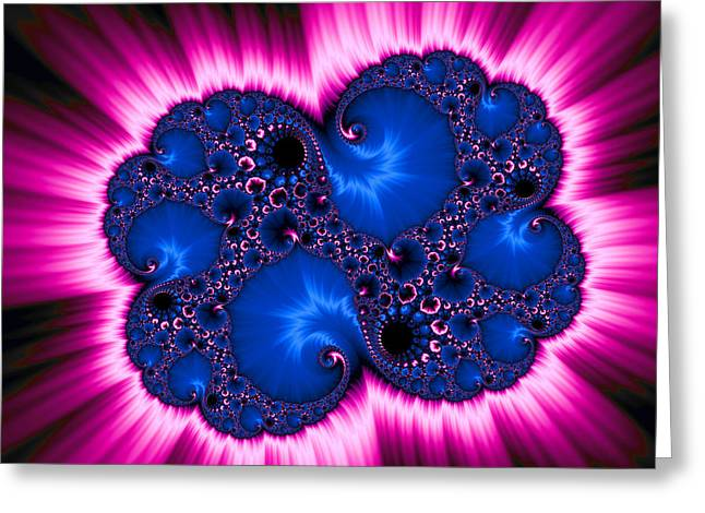Abstract Digital Photographs Greeting Cards - Blue and pink fractal explosion abstract digital art Greeting Card by Matthias Hauser