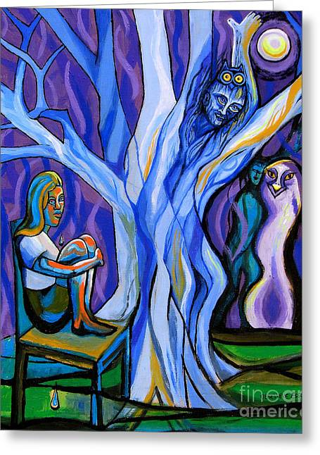 Stl Greeting Cards - Blue and Purple Girl With Tree and Owl Greeting Card by Genevieve Esson