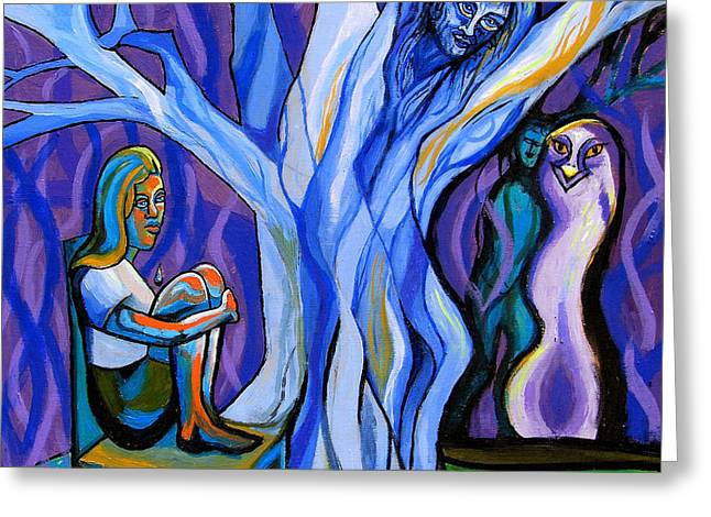 Blue and Purple Girl With Tree and Owl Greeting Card by Genevieve Esson