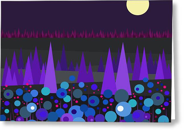 Blue And Purple Greeting Cards - Blue and Purple Night Blooming Flowers Greeting Card by Val Arie