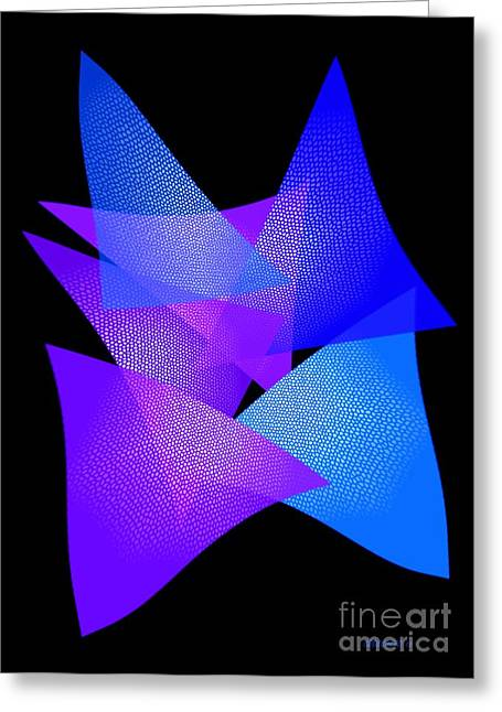 Style Greeting Cards - Blue and Purple Triangles Greeting Card by Mario  Perez
