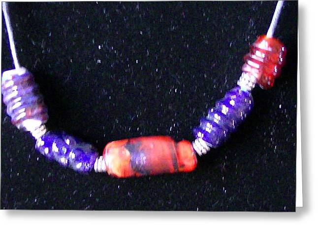 Glass Beads Glass Art Greeting Cards - Blue And Red Greeting Card by Lee Hartsell