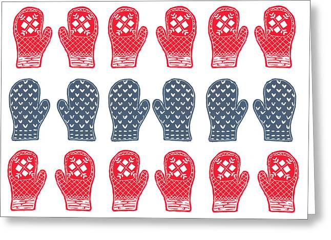 Patterned Reliefs Greeting Cards - Blue and Red Mitten Pattern Greeting Card by Lynn-Marie Gildersleeve