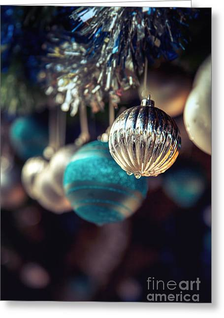 Christmas Symbols Greeting Cards - Blue and silver baubles. Greeting Card by Jane Rix