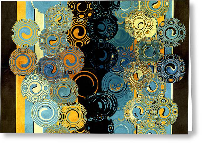 Tangerine Digital Art Greeting Cards - Blue and Tangerine Swirls Greeting Card by Bonnie Bruno