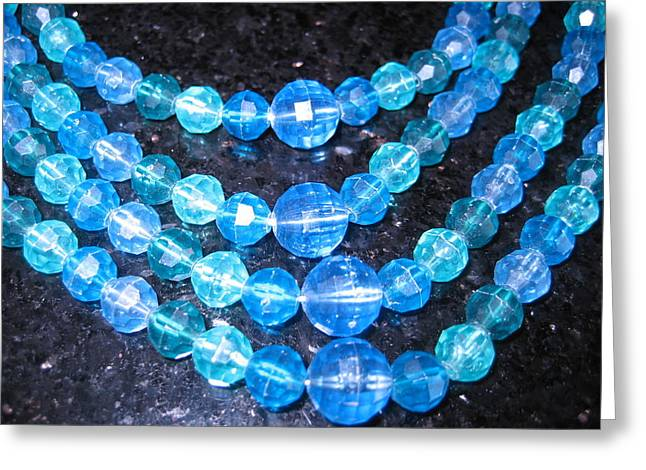 Jewelry Framed Prints Greeting Cards - Blue and Turquoise Beads on Granite Greeting Card by Dotti Hannum