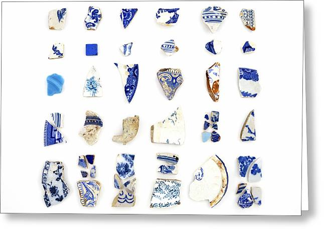 China Beach Greeting Cards - Blue and White Beach China Greeting Card by Jennifer Booher