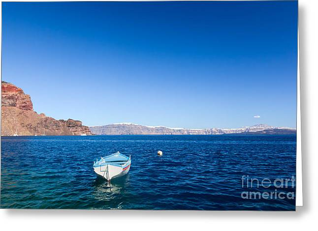 Thirasia Greeting Cards - Blue and white boat on the Aegean sea Greeting Card by Michal Bednarek