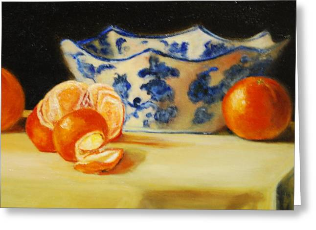 Tangerine Greeting Cards - Blue And White Bowl And Tangerines Greeting Card by Ann Simons