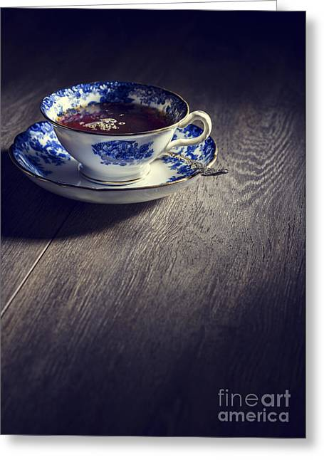 Blue And White China Teacup Greeting Card by Amanda Elwell