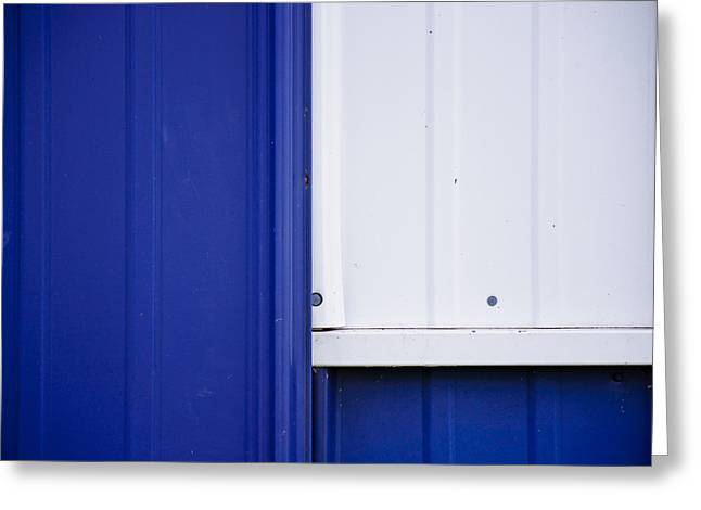 Industrial Abstract Greeting Cards - Blue and White Greeting Card by Christi Kraft