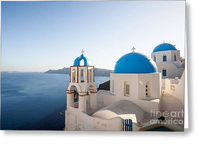 Greek Icon Greeting Cards - Blue and white churches in Santorini Greece Greeting Card by Matteo Colombo