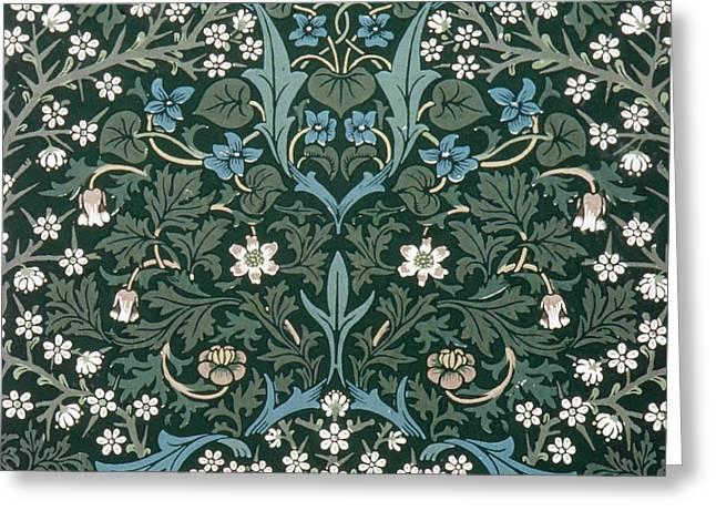 Blue Flowers Tapestries - Textiles Greeting Cards - Blue and White Flowers on Green Greeting Card by William Morris