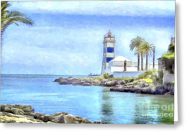 Blue And White Greeting Card by GabeZ Art