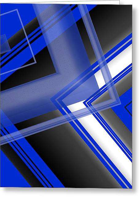 Transparency Geometric Greeting Cards - Blue and White Geometric Art Greeting Card by Mario  Perez
