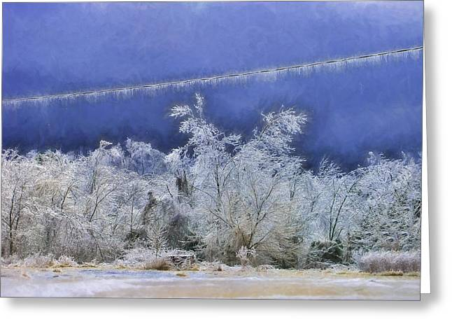 Blue And White Greeting Card by Kathy Jennings