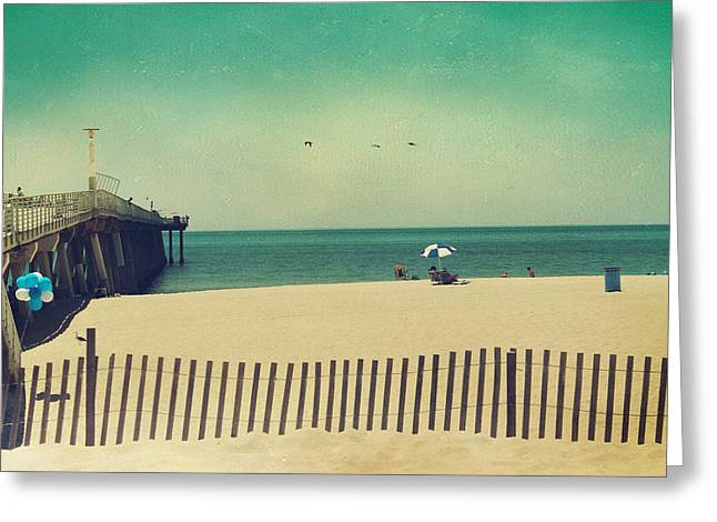 Pier Digital Greeting Cards - Blue and White Greeting Card by Laurie Search