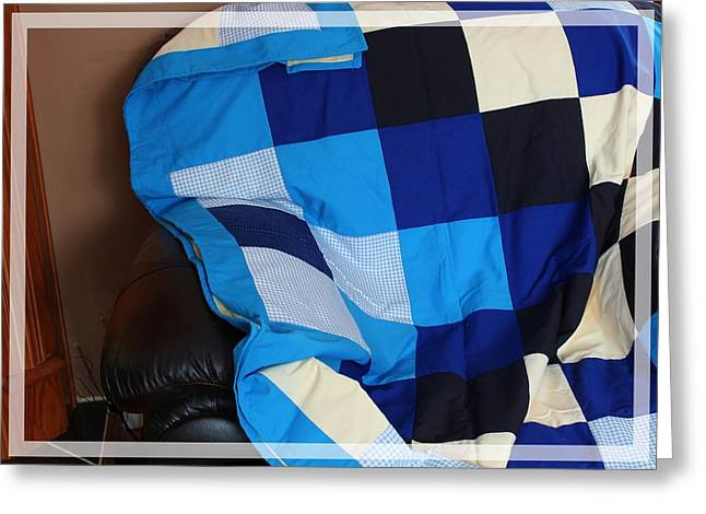 For Sale Tapestries - Textiles Greeting Cards - Blue and White Patchwork Quilt Greeting Card by Barbara Griffin