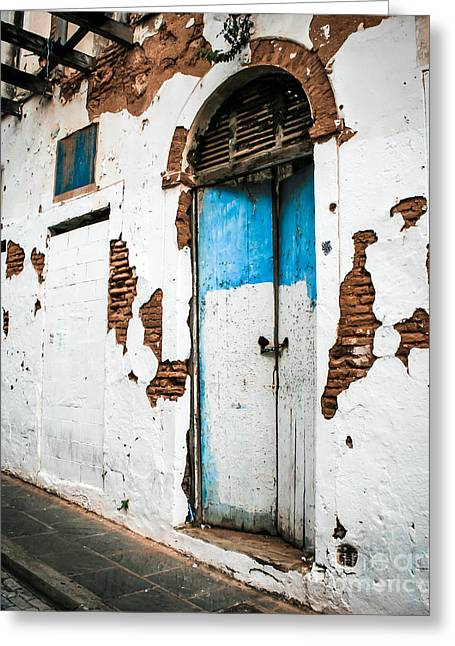 Old Door Greeting Cards - Blue And White  Greeting Card by Perry Webster