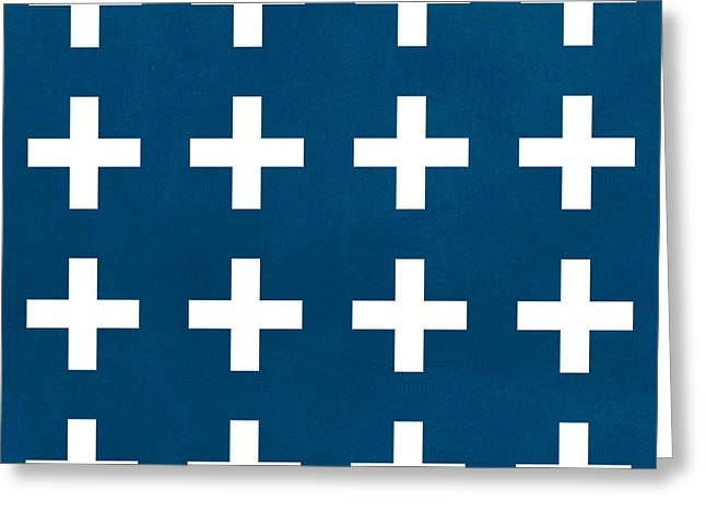 Geometric Design Greeting Cards - Blue and White Plus Sign Greeting Card by Linda Woods