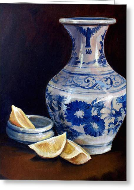 Lemon Drawings Greeting Cards - Blue and White Pottery with Lemons Greeting Card by Laura Ury