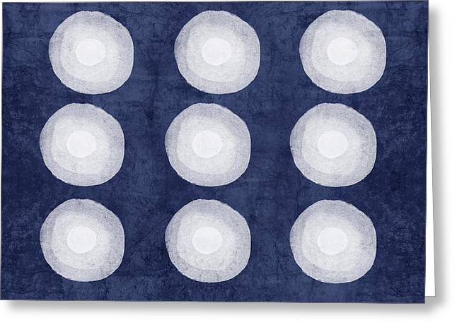 Dots Mixed Media Greeting Cards - Blue and White Shibori Balls Greeting Card by Linda Woods