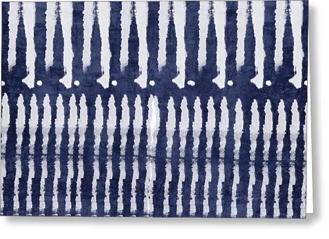 Blue And White Shibori Design Greeting Card by Linda Woods