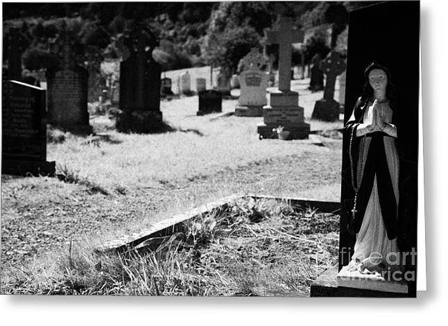 Significance Greeting Cards - Blue And White Statue Of Our Lady The Virgin Mary Praying Sitting On Top Of Grave In The Graveyard Of Glendalough Monastic Site Greeting Card by Joe Fox