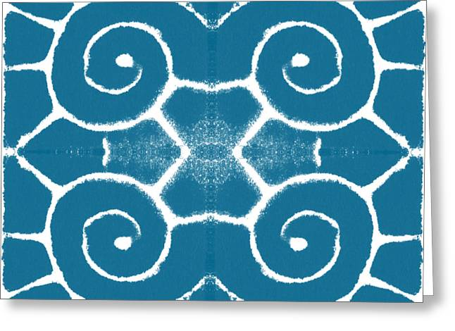 Blue And White Wave Tile- Abstract Art Greeting Card by Linda Woods