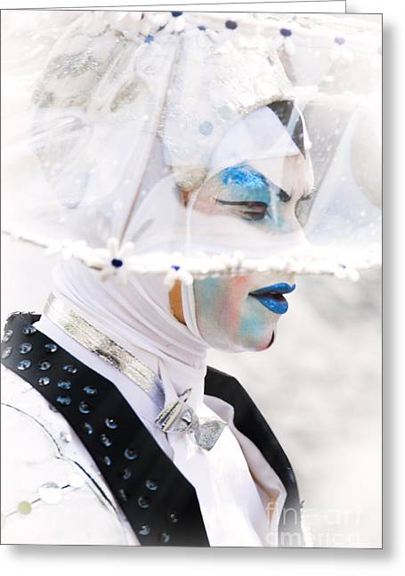 Silver Eye Shadow Greeting Cards - Blue and White Woman Greeting Card by Jan Tyler