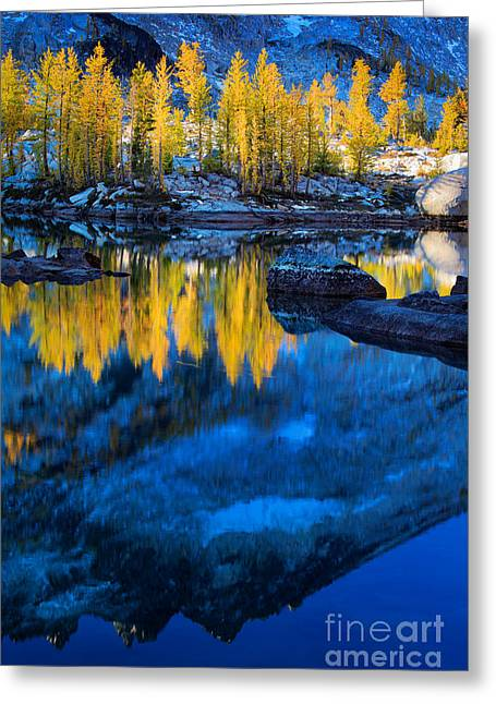 Alpine Greeting Cards - Blue and Yellow Greeting Card by Inge Johnsson