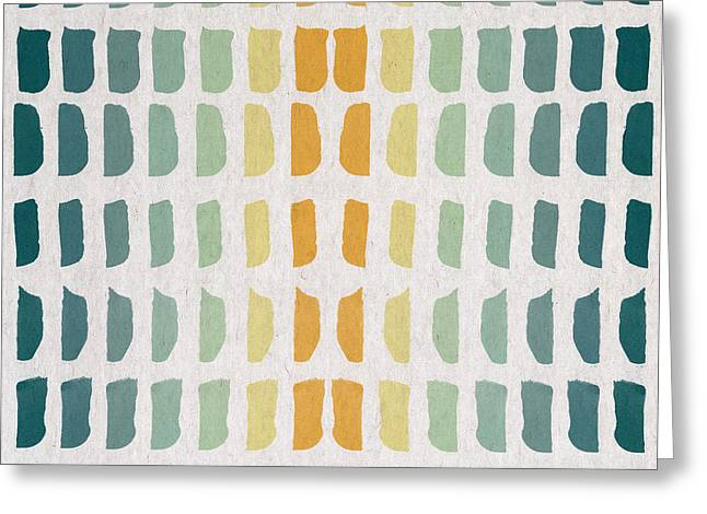 Art Decor Greeting Cards - Blue And Yellow Pattern Greeting Card by Aged Pixel