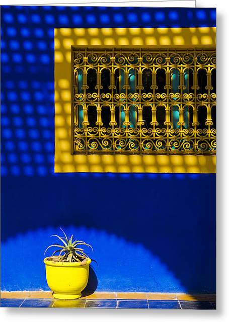 Yves Saint Laurent Greeting Cards - Blue and Yellow Patterns Greeting Card by Mick House
