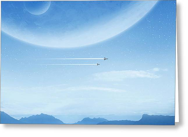 Spaceshuttle Greeting Cards - Blue Greeting Card by Andrzej Siejenski