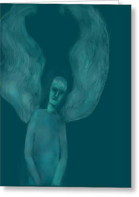 Angel Blues Drawings Greeting Cards - Blue Angel Greeting Card by Andreja Hotko Pavic