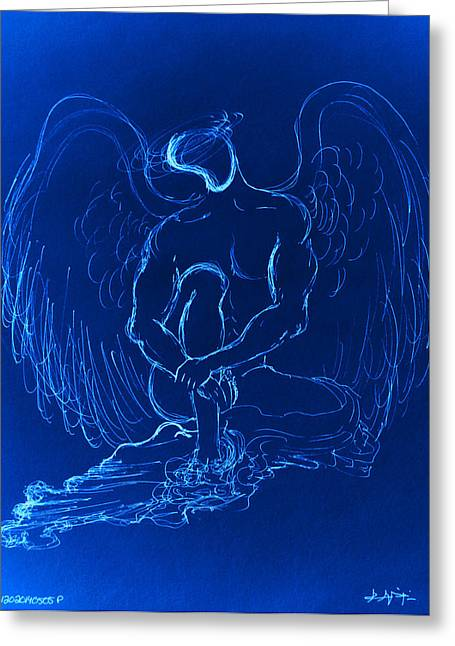 Angels Greeting Cards - Blue Angel Greeting Card by Giorgio Tuscani