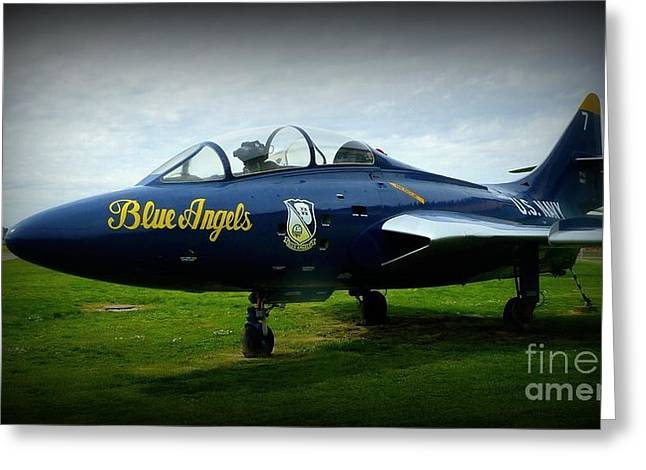 Angel Blues Greeting Cards - Blue Angel Jet Greeting Card by Susan Garren