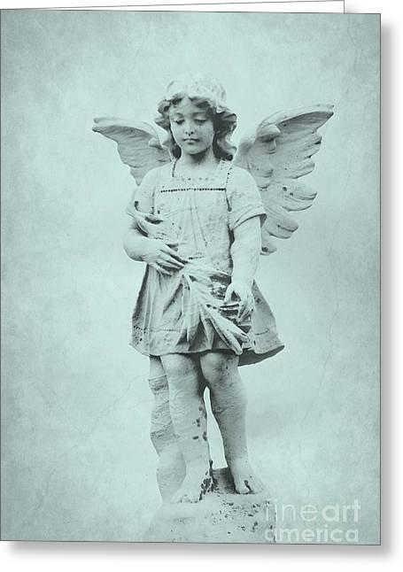 Guardian Angel Greeting Cards - Blue Angel Greeting Card by Sophie Vigneault