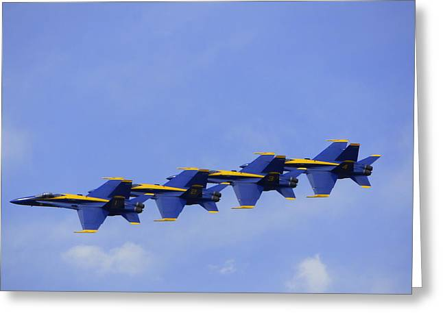 Military Airplanes Greeting Cards - Blue Angels 7 Greeting Card by Laurie Perry