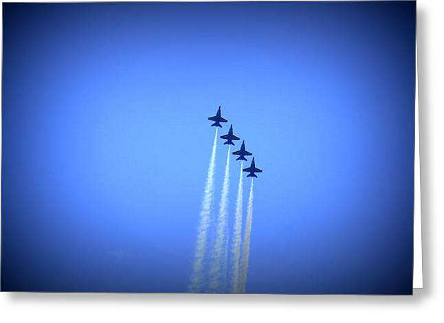 Angel Blues Greeting Cards - Blue Angels 8 Greeting Card by Laurie Perry