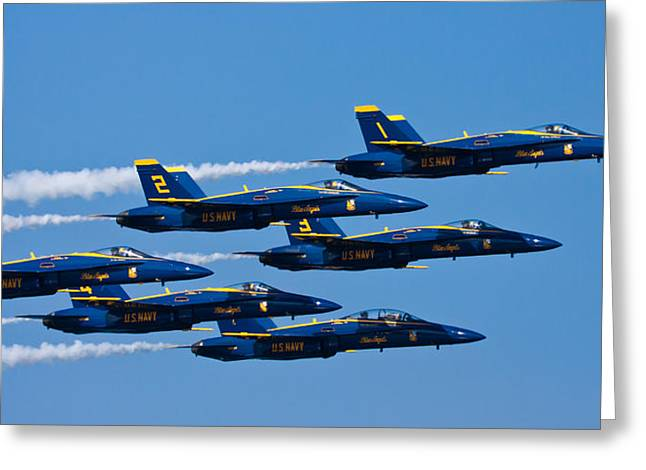 Aeroplane Greeting Cards - Blue Angels Greeting Card by Adam Romanowicz