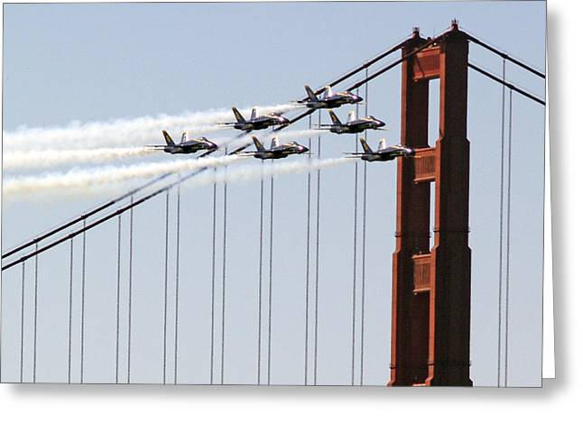 Blue Angels And The Bridge Greeting Card by Bill Gallagher