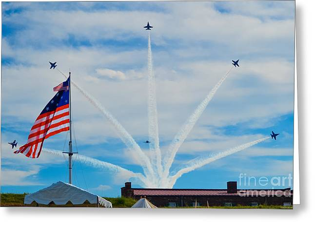 Angel Blues Greeting Cards - Blue Angels Bomb Burst in Air over Fort McHenry Finale Greeting Card by Jeff at JSJ Photography