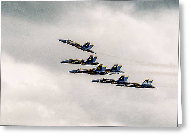 Angel Blues Greeting Cards - Blue Angels Greeting Card by Eduard Moldoveanu