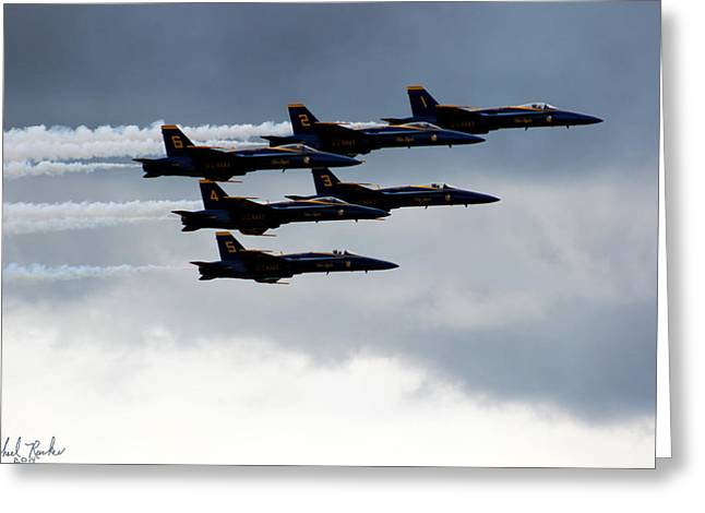 Dream Team Art Greeting Cards - Blue Angels F18 Hornets Greeting Card by Michael Rucker