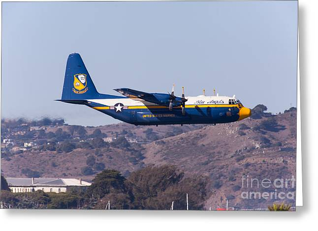 Military Airplanes Greeting Cards - Blue Angels Fat Albert C130T Hercules At San Francisco Fleet Week 5D29572 Greeting Card by Wingsdomain Art and Photography