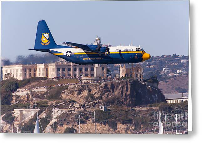 Military Airplanes Greeting Cards - Blue Angels Fat Albert C130T Hercules Through San Francisco Alcatraz Island At Fleet Week 5D29571 Greeting Card by Wingsdomain Art and Photography